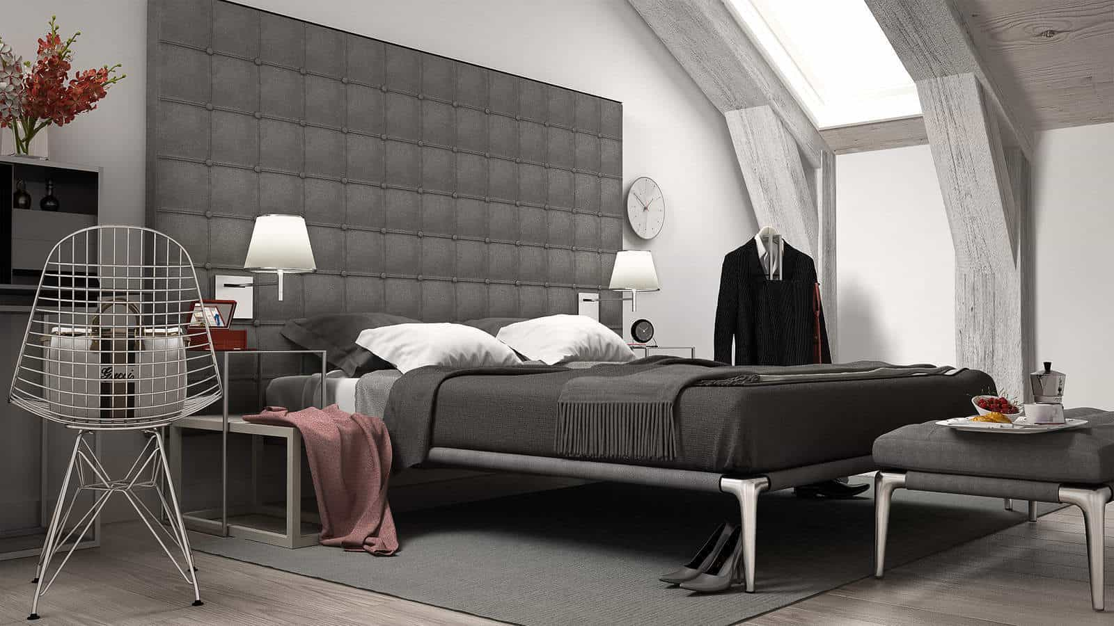 Loft minimal bedroom, interiour design. 3d illustration